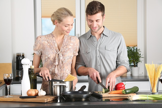 boy and girl in cooking classes