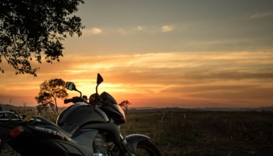 bike in open are and sunset time