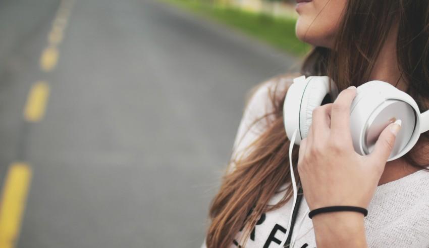 Girl with White headphones