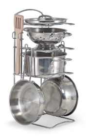 Melissa & Doug Stainless Steel Pots and Pans Pretend Play Kitchen Set for KidsMelissa & Doug Stainless Steel Pots and Pans Pretend Play Kitchen Set for Kids