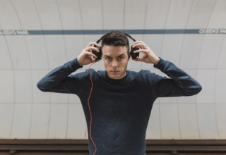man using headphones