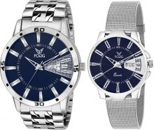 Fogg 5070-BL Blue Day and Date Watch - For Couple