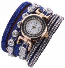 haappybox Grace Blue Leather Bracelet Watch - For Girls