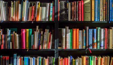 many books in shelf