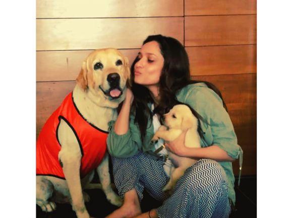 Ankita with pets Scotch and Hatchi