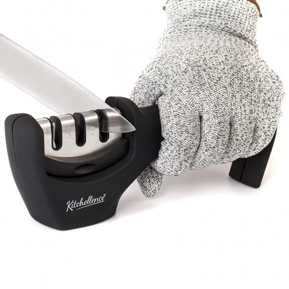 Kitchen Knife Sharpener with Cut Resistant Glove