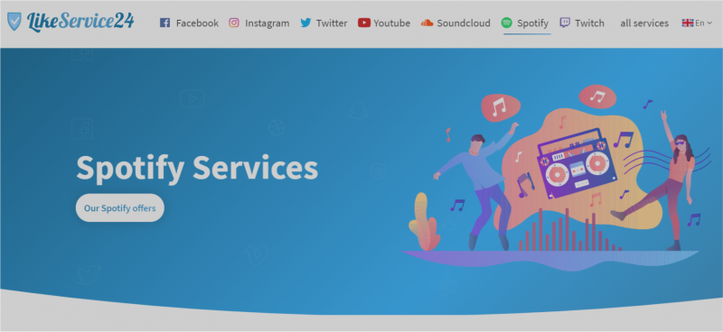 Like Service 24 (best site for growing spotify account)