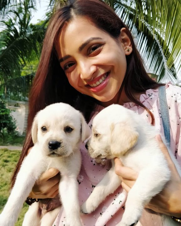 Plabita Borthakur with dogs
