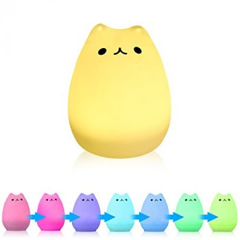 Silicone Cat Shape Color Changing Rechargeable Lamp