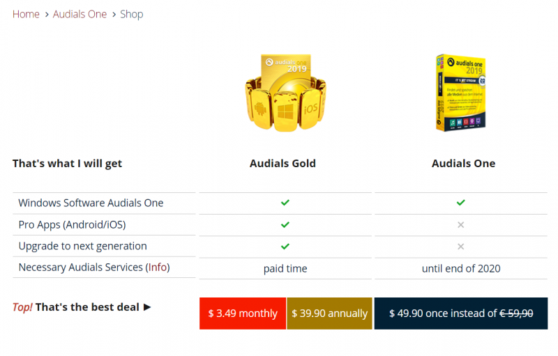 Pricing Information of Audials One
