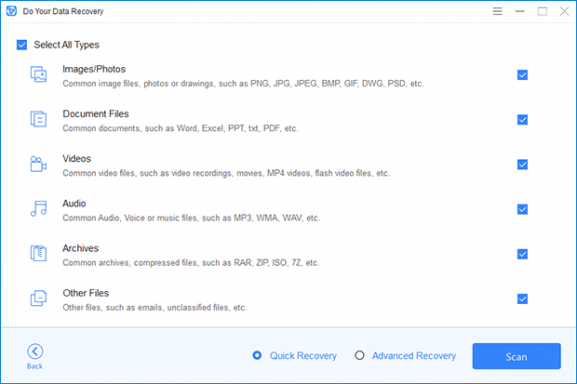 Select file types that you want to recover