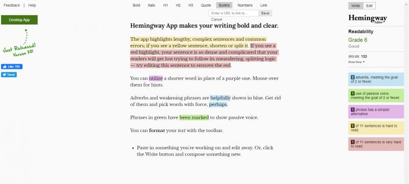 Hemmingway: Grammarly alternatives