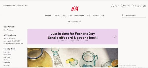 H & M home