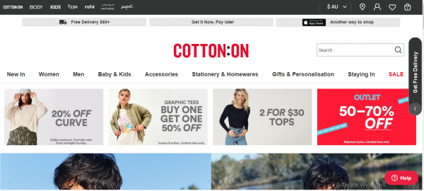 cotton on - website like flying tiger