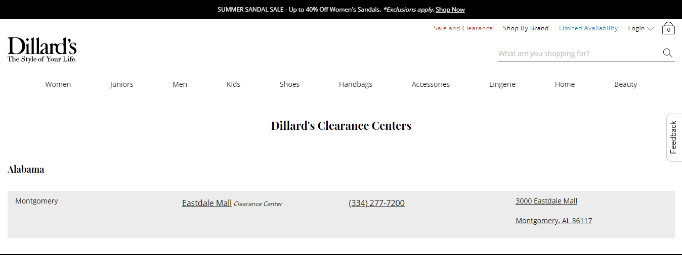 Dillard's Clearance Center.
