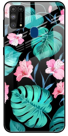 Tropical Leaves and Pink Flowers Glass case: Best Cover For Samsung M31