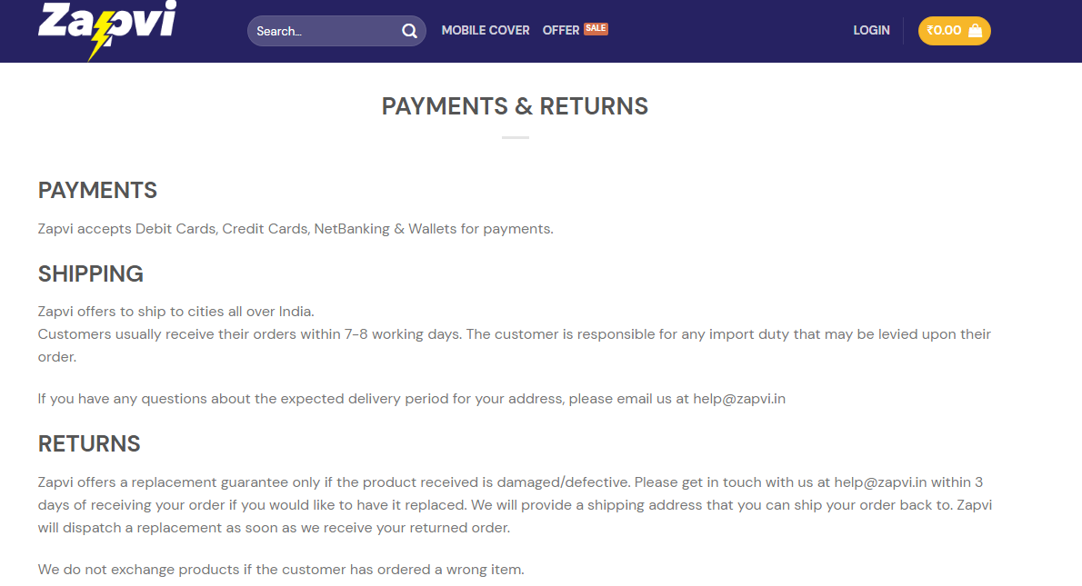 payment and return facility