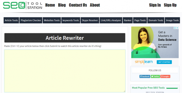 SEO Tool Station - best tool for rewriting the article