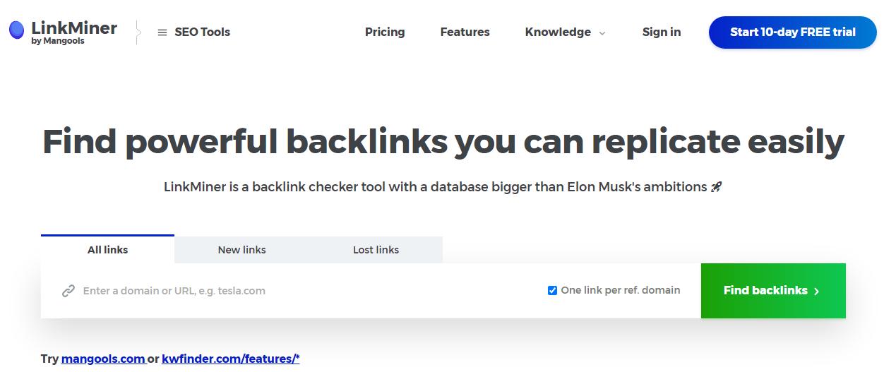 linkminer - best tool for checking backlinking