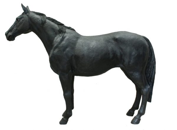 Black Stallion Horse Life Size Statue Standing
