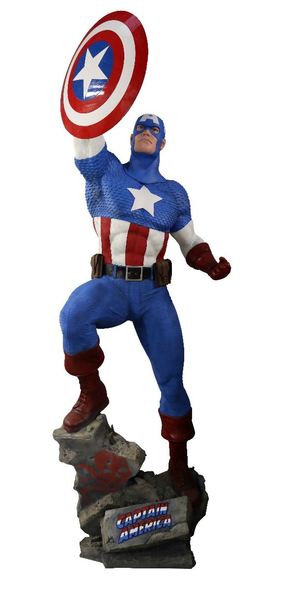 Life-Size Caption America Statue