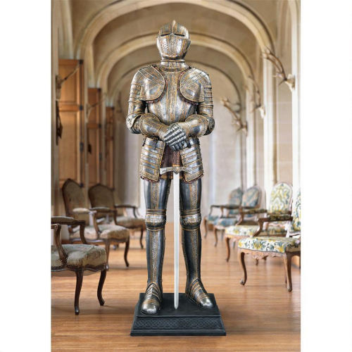 Knight Life-Size Medieval Armor Statue Sword