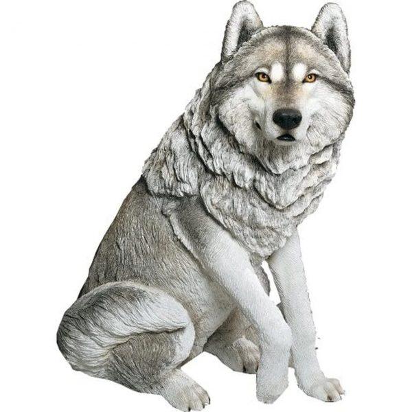 Life-Size Large Gray Sitting Wolf Statue