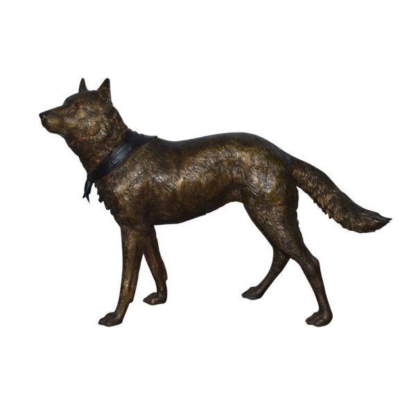 Wolf Standing Life Size Bronze Statue