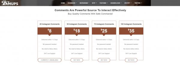 famups - best sites to buy instagram comments