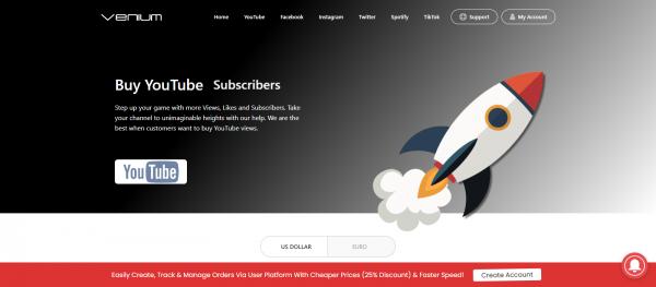 Venium: Site to Buy YouTube Subscribers