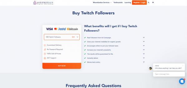 Audience Gain -Buy Twitch Followers
