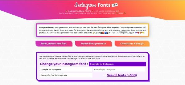 Instagram Fonts Top