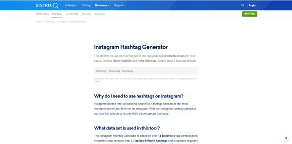 Sistrix - hashtag generator