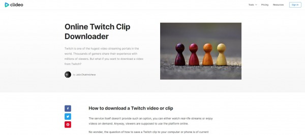 clideo - Twitch Video Downloader