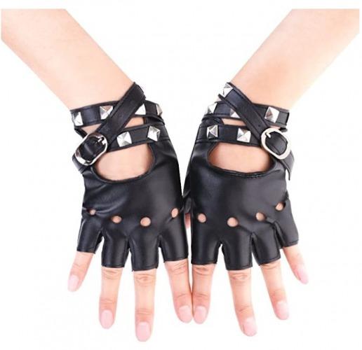 Jisen Women Punk Rivets Leather Gloves