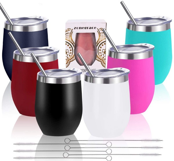 12 oz Stainless Steel Stemless Wine Glass Tumbler