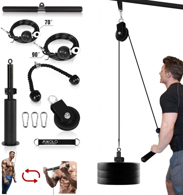 Mikolo Fitness LAT and Lift Pulley System for home workout