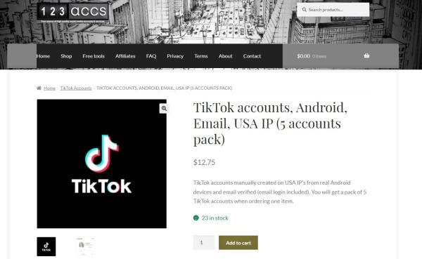 123accs -Buy TikTok Account