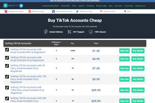 AccFarm -Buy TikTok Account