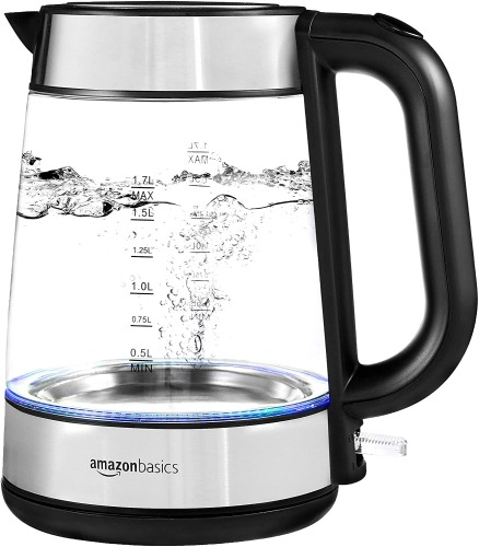 Amazon Basics Electric Glass and Steel Hot Water Kettle