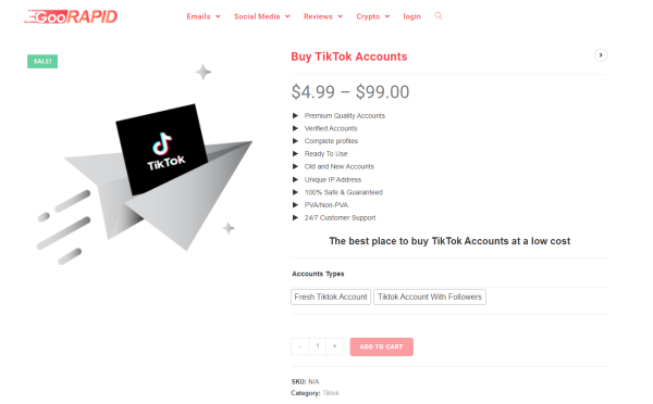 GooRapid -Buy TikTok Account