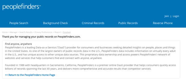 PFs-final-confirmation - How To Remove Yourself From PeopleFinders